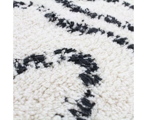 Coussin berbere 40x60 blanc motif noir