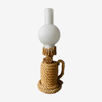 Lampe en corde et opaline des années 60