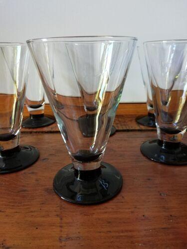 6 verres à eau à pied noir vintage france