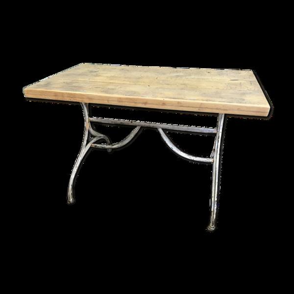 Table de bistrot vintage en chêne & métal vintage 1930