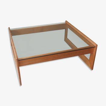 Table basse vintage en chêne clair et verre, Belgique 1960