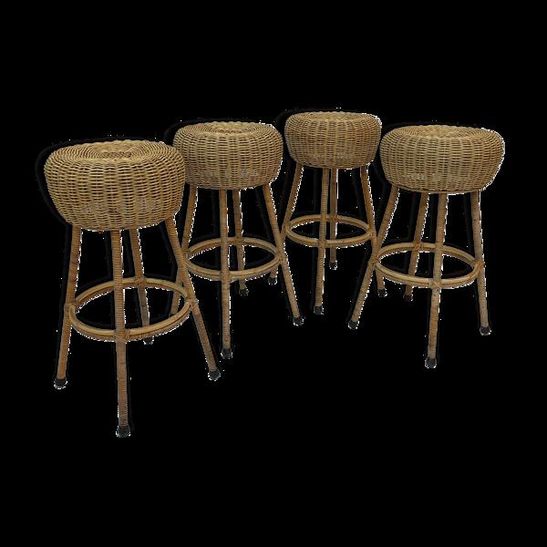 Selency Ensemble de quatre tabourets de bar vintage en rotin 1960 Nederland Design