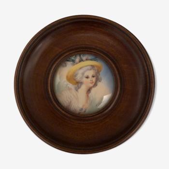 Miniature Napoléon III portrait de femme