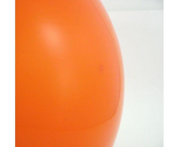 Suspension globe en verre opalin orange vintage années 70