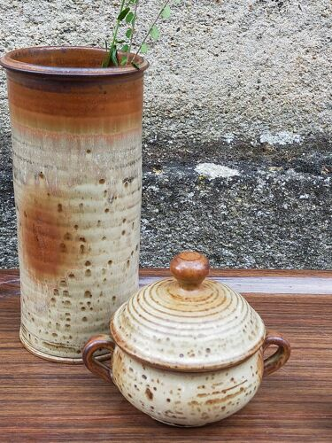 Vase cylindre de potier en grès émaillé vintage