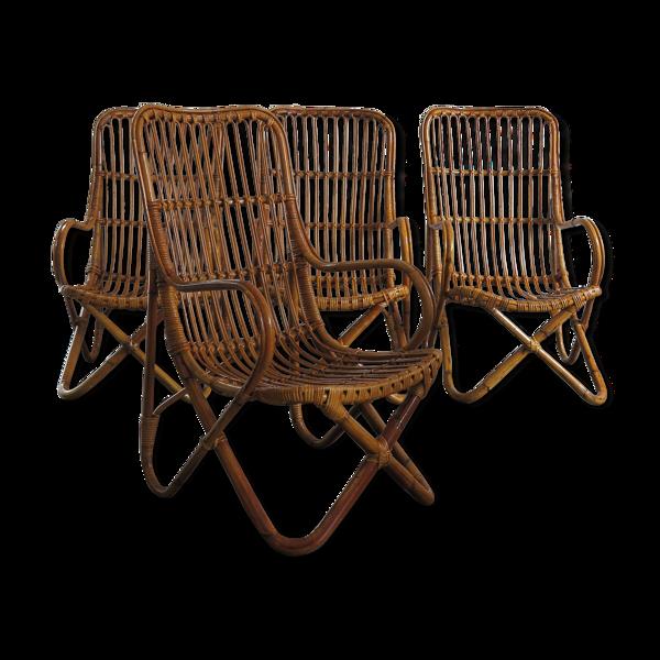 Fauteuils en bambou rotin italien ensemble de quatre, années 1956