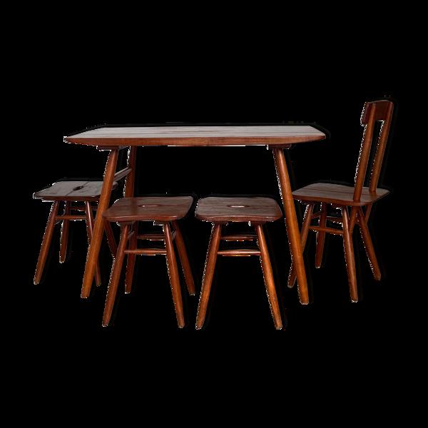 Ensemble table de repas chaises et tabouret teck vintage Ercol