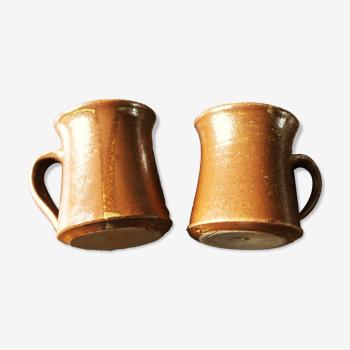 Lot 2 tasses à café grès vintage avec anse