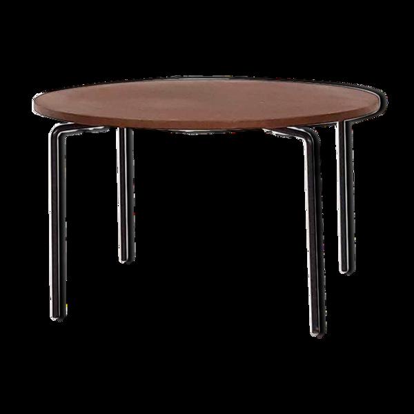 Table basse en teck rond minimaliste moderne du milieu du siècle