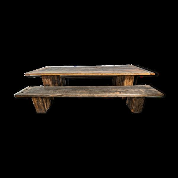 Selency Table et bancs en chêne massif