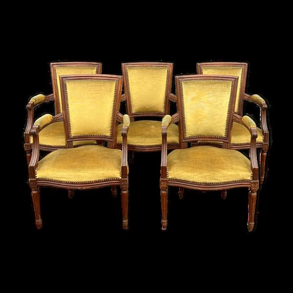 Selency Suite de cinq fauteuils de style Louis XVI XIX eme siècle