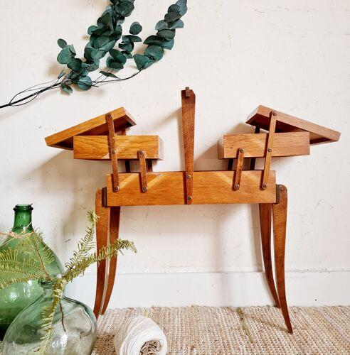 Travailleuse en bois vintage Art Déco pieds galbés