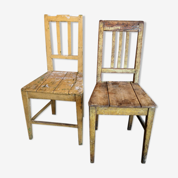 Ancienne chaise rustiques en bois, de ferme , années 60