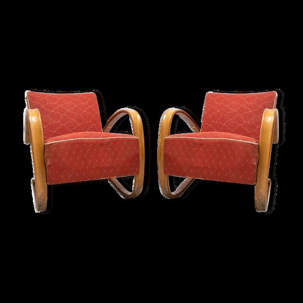 Paire de fauteuils en bois torlé H-269, Jindrich Halabala, Tchécoslovaquie