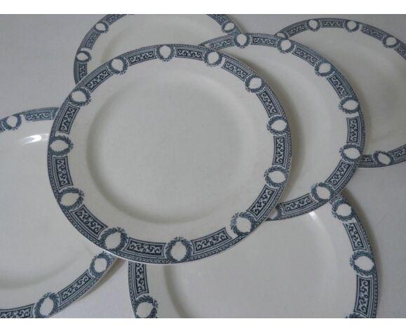 6 assiettes plates faience ancienne terre de fer saida