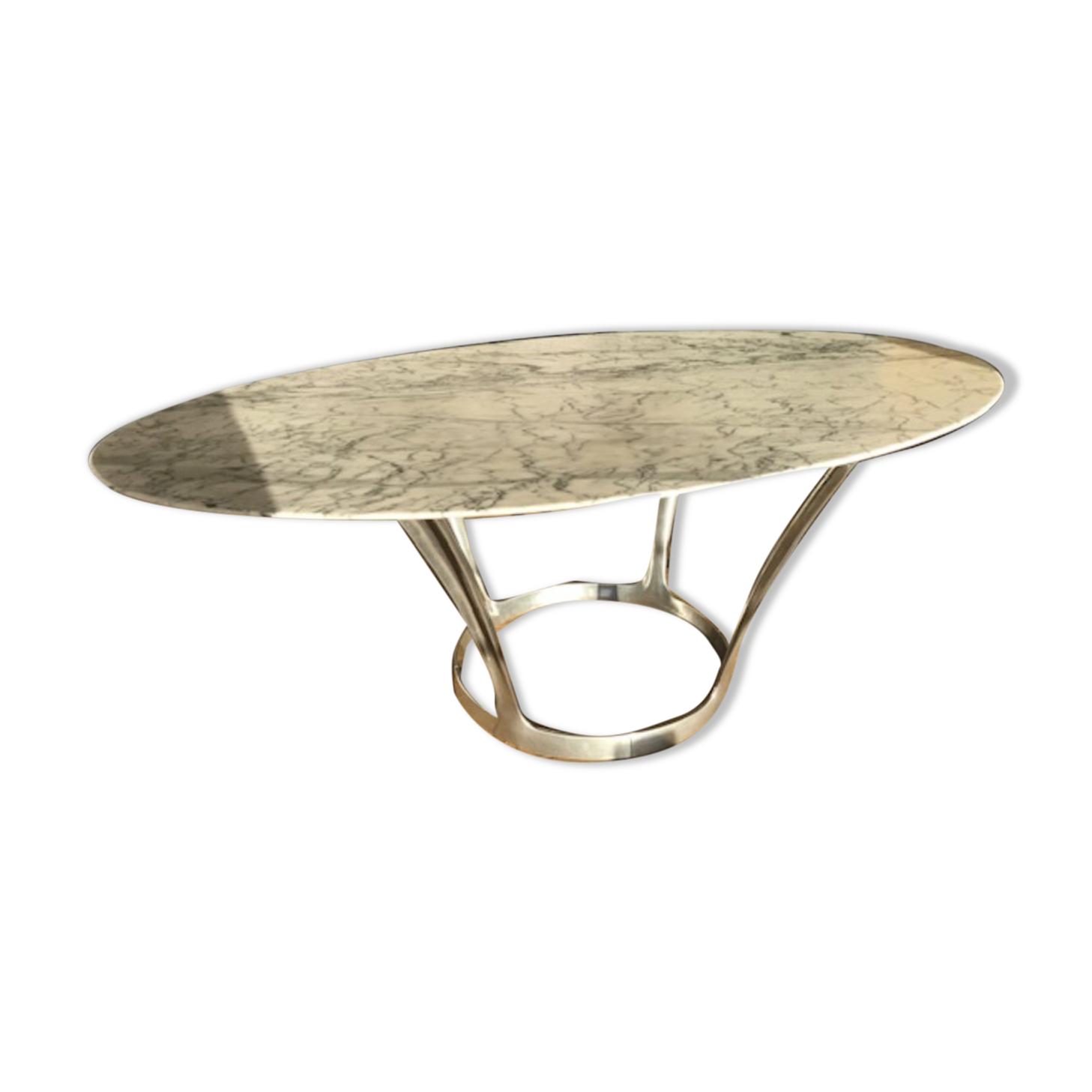 Table ovale en marbre Michel Charron