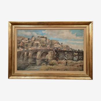 Huile sur toile figurant le pont de jambes à Namur en 1975 , Albert Dandoy (Namur 1885 à 1977)