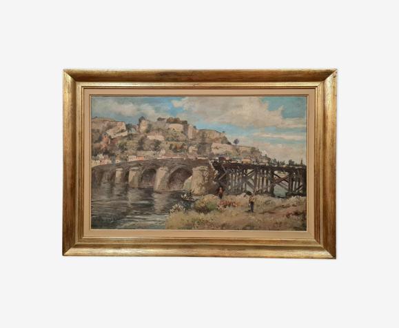 Albert Dandoy (Namur 1885 to 1977) Oil on canvas depicting the leg bridge in Namur in 1975
