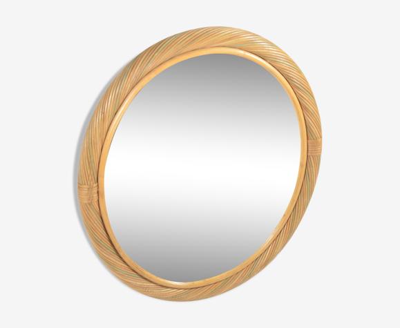 Miroir ovale en rotin
