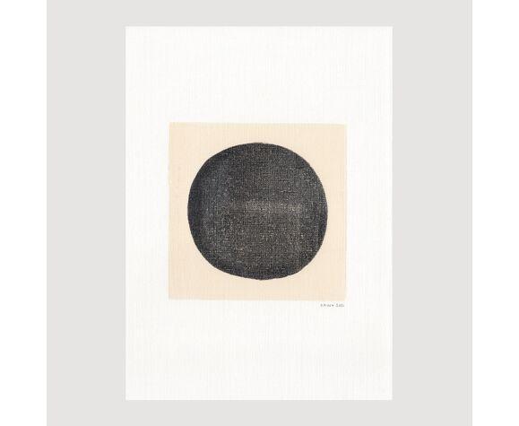Peinture sur papier • Composition abstraite signée Eawy