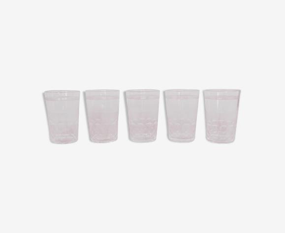 5 verres à porto anciens en cristal