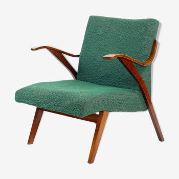 Bentwood armchair in original green fabric by Mier, 1964