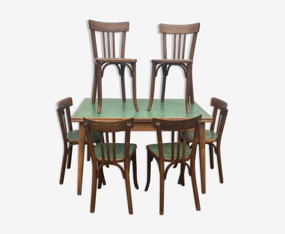 Ensemble bistrot table six chaises Baumann circa 1950