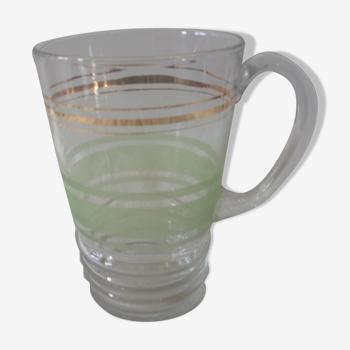 Carafe pichet en verre granité verte