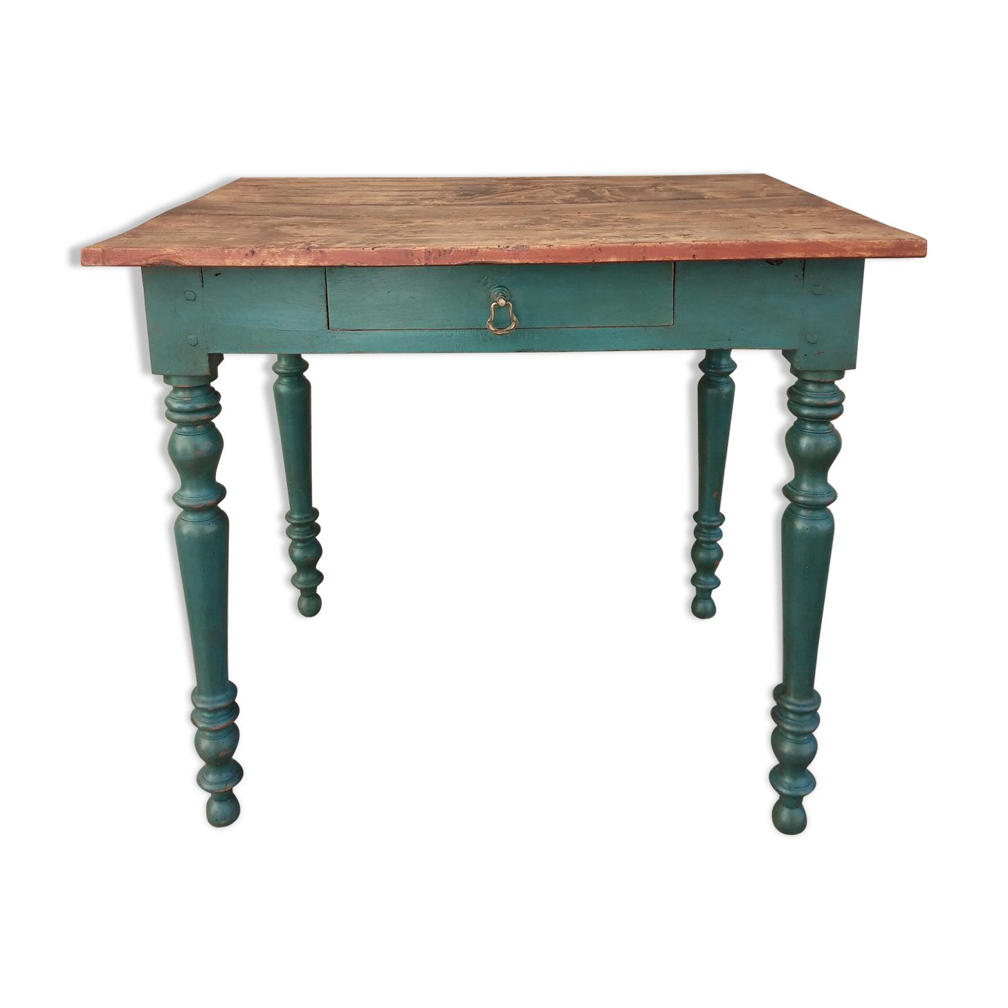 Ancienne table d'appoint, bureau, 1 tiroir, patine bleu aubusson