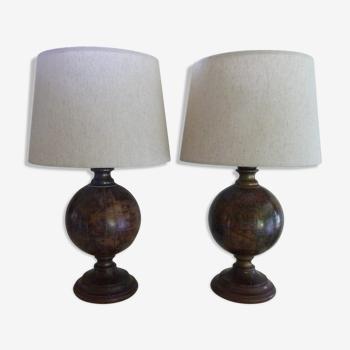Paire de lampes mappemondes