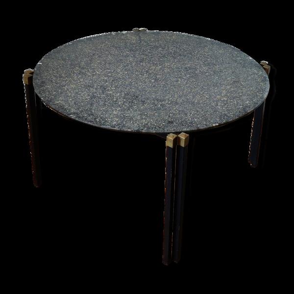Table basse d'appoint noir et or plateau verre eglomisé, années 60