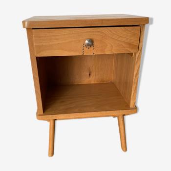 Table de chevet bois clair vintage