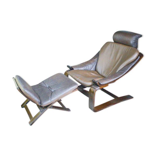 Selency Kroken leather armchair with footstool by Ake Fribytter for Nelo Möbel, 1970s