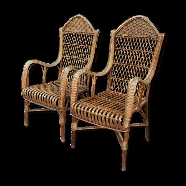 Paire de grands fauteuils en rotin des années 1960