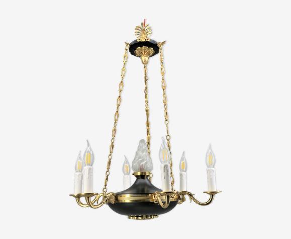 Lustre en bronze de style Empire à six lumières