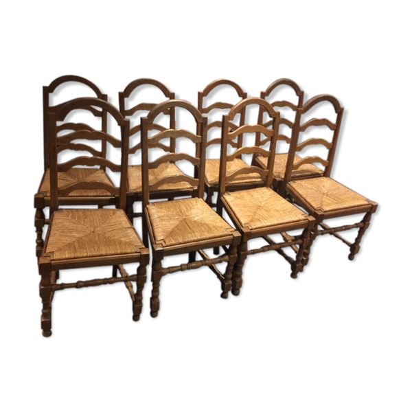 8 chaises paillées rustiques à entrecroise chêne massif