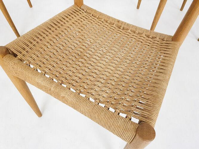 Ensemble de six chaises Arne Hovmand Olsen pour Mogens Kold en papier, Danemark des années 1950