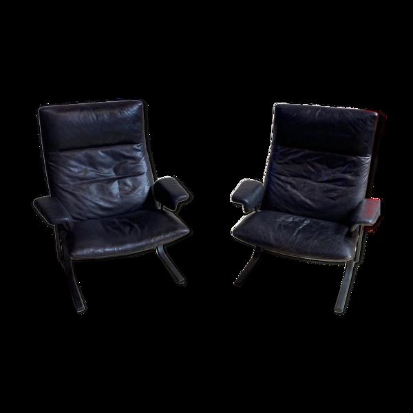 Paire de fauteuils cuir De Sede DS 2030