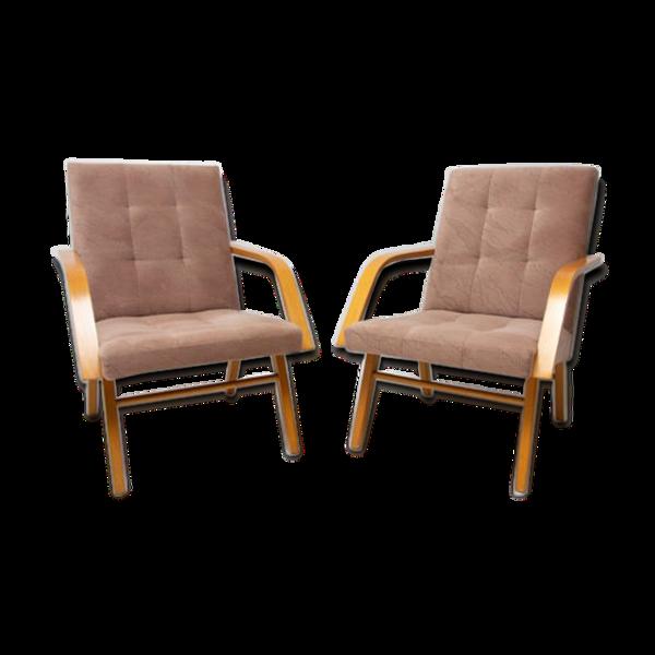 Paire de fauteuils modernes du milieu du siècle Tchécoslovaquie 1970