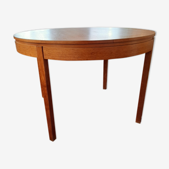 Table ronde extensible scandinave teck vintage