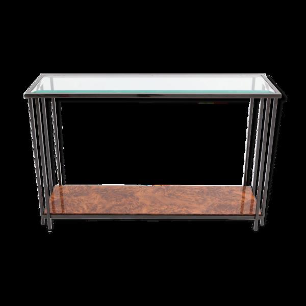 Table console noire chromée en broussin
