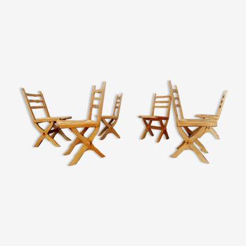 Suite de 6 chaises brutaliste