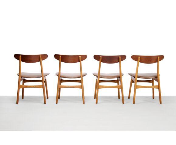 Lot de 5 chaises CH30 par Hans Wegner par Carl Hansen