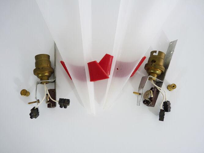 Paire d'appliques murales cornet moderniste minimaliste,plexiglas rockabilly, années 50