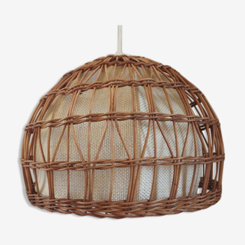 Rattan hanging lamp and fabric 60/70s