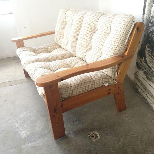 Banquette et fauteuil vintage en pin