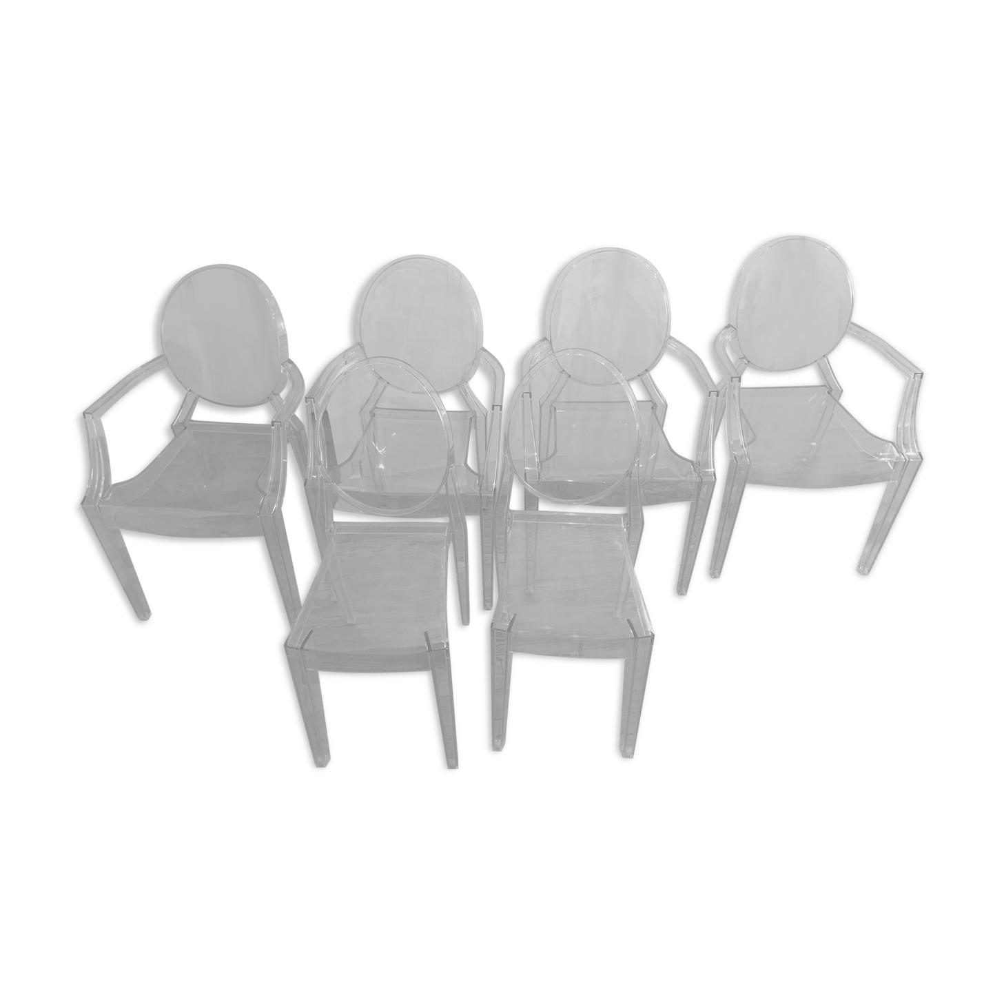 Lot de 4 fauteuils et 2 chaises Philippe Stark pour Kartell, modèle Louis Ghost