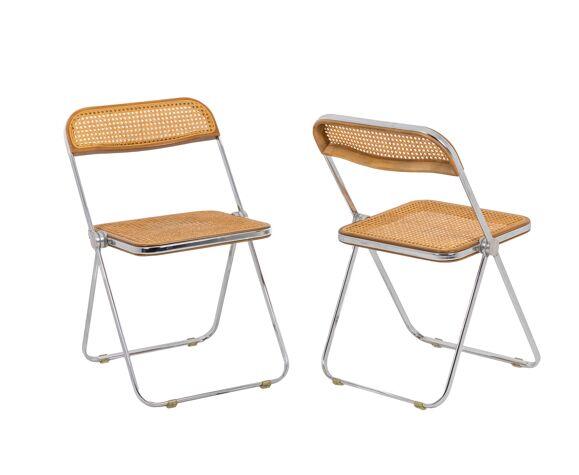 Série de cinq chaises cannées, Giancarlo Piretti,  années 1970
