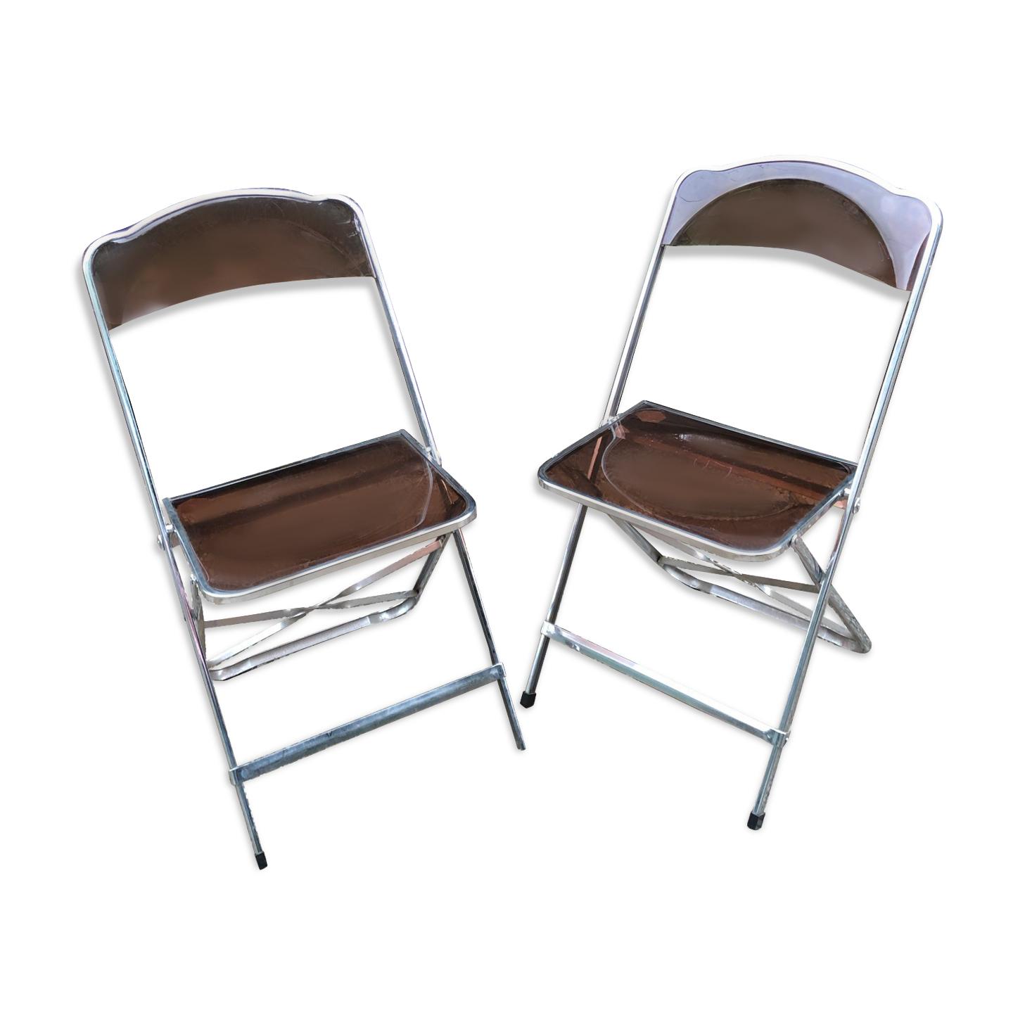 Paire de chaises pliantes transparentes