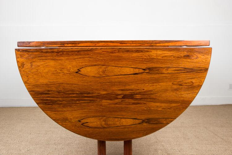 Table de repas ovale scandinave en palissandre de rio